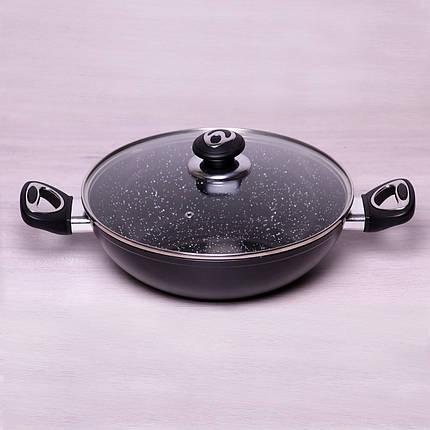 """Вок Kamille 28см из литого алюминия с керамическим покрытием """"мрамор"""" и крышкой для индукции, фото 2"""
