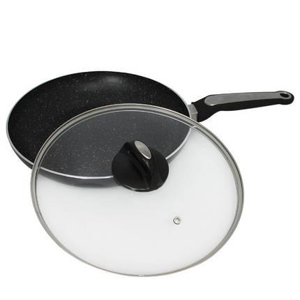 Сковорода Kamille 28см с мраморным покрытием и крышкой для индукции, фото 2