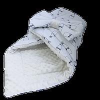 """Одеяло-конверт на выписку для новорожденных Солодкий Сон хлопок/плюш 80х80 см. """"Milk"""" Молочный"""