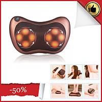Роликовый массажер для спины и шеи Massage pillow GHM 8028 | массажная подушка | массажер с подогревом