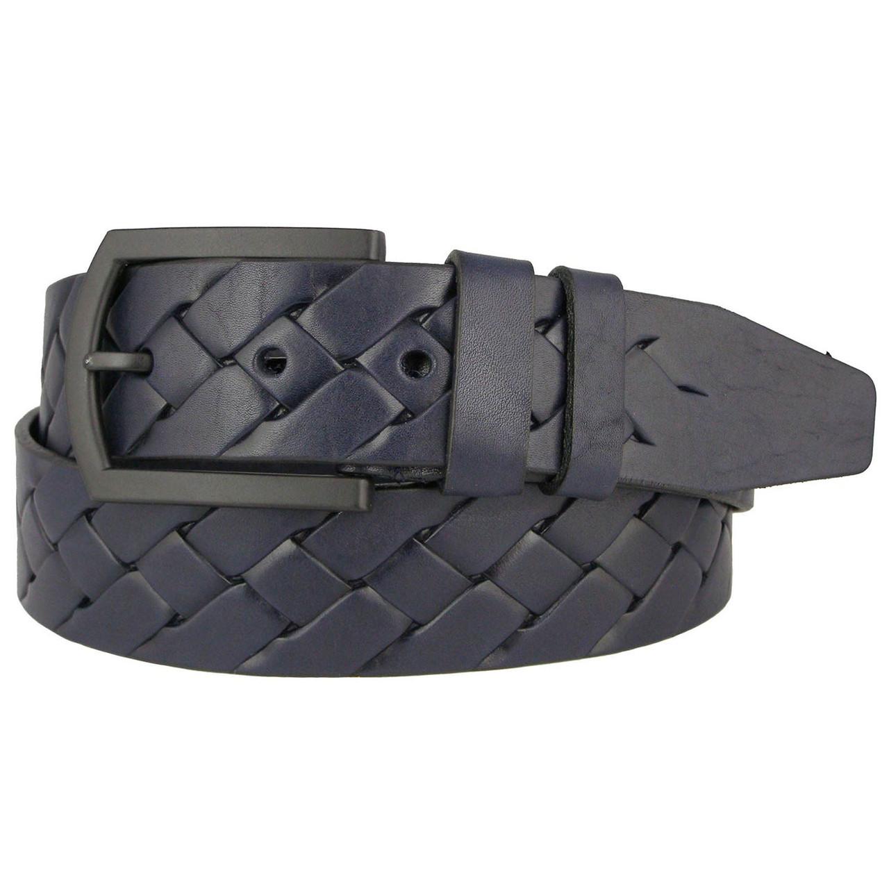 Натуральная кожаный мужской ремень JK Синий (MC451024517)