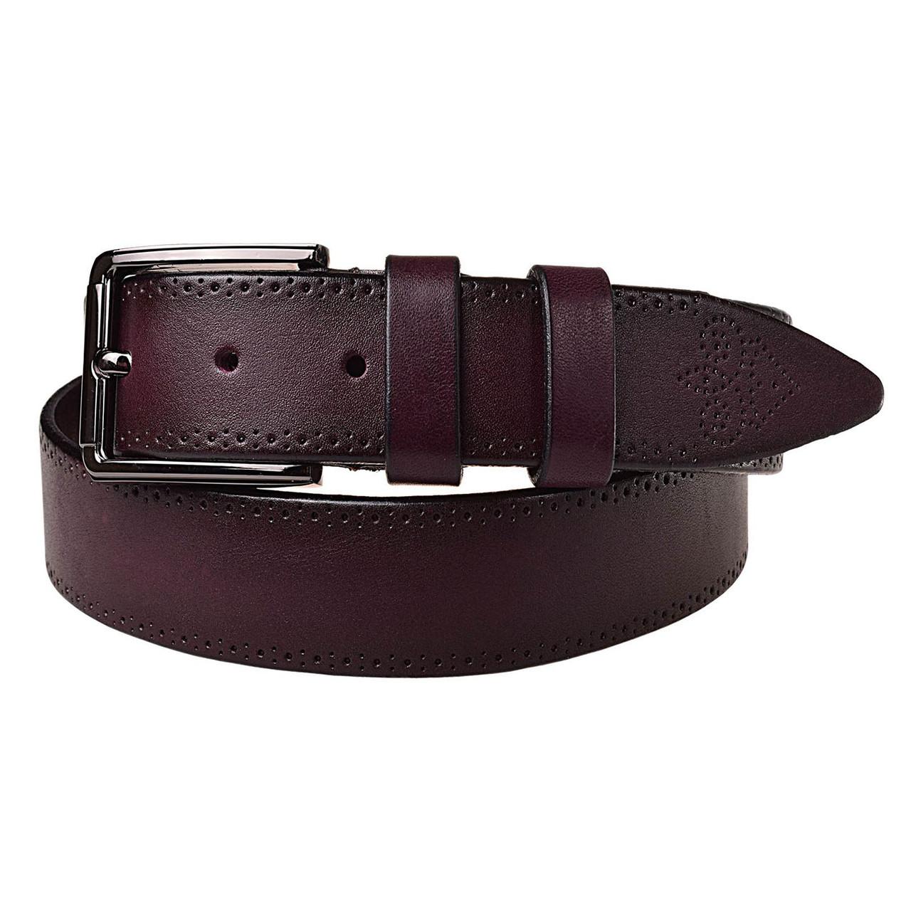 Натуральная кожаный мужской ремень JK баклажан (MC352257123)