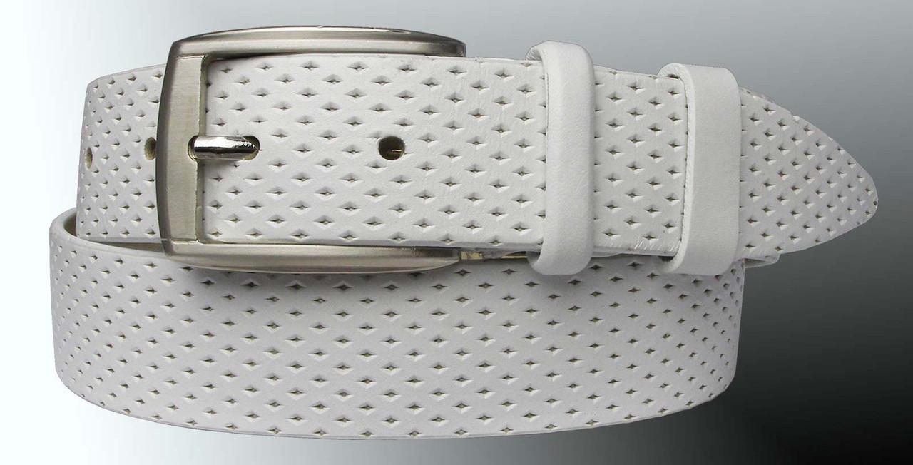 Натуральная кожаный мужской ремень JK Белый (MC351081302)
