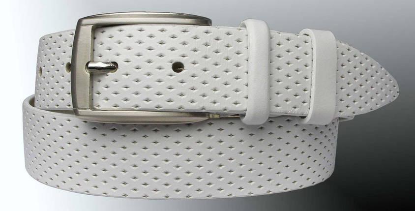 Натуральная кожаный мужской ремень JK Белый (MC351081302), фото 2
