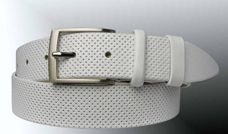 Натуральная кожаный мужской ремень JK Белый (MC351081102), фото 2