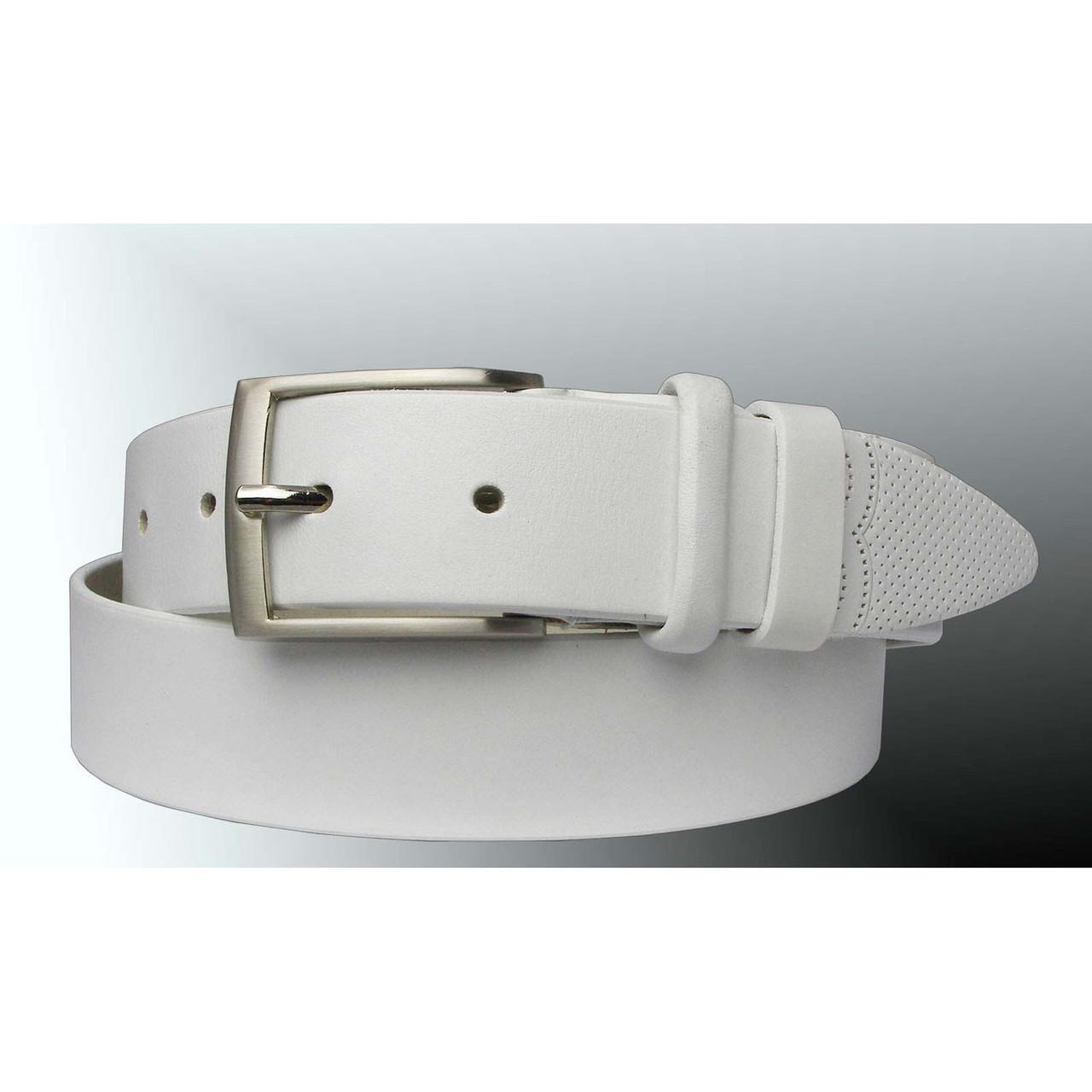 Натуральная кожаный мужской ремень JK Белый (MC351080202)