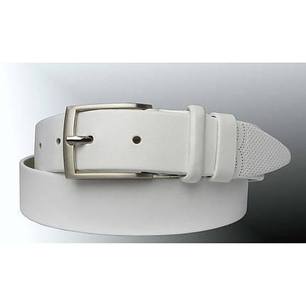 Натуральная кожаный мужской ремень JK Белый (MC351080202), фото 2