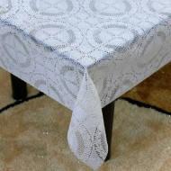 Клеенка на стол ПВХ без основы виниловая ажурная белая с перламутром LACE 1.37х20м