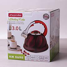 Чайник Kamille 3л из нержавеющей стали со свистком, фото 3