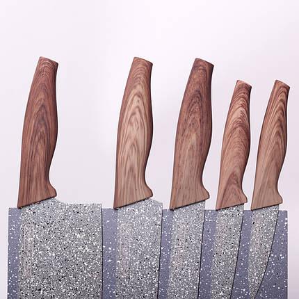 Набор ножей 6 предметов из нержавеющей стали на подставке с мраморным покрытием (5 ножей+подставка), фото 2