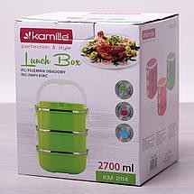 Ланч бокс тройной 2700мл. для обедов из пластика и нержавеющей стали, фото 2