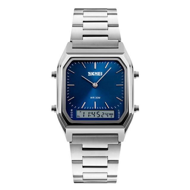 Skmei 1220 tango серебристые с синим циферблатом мужские спортивные часы