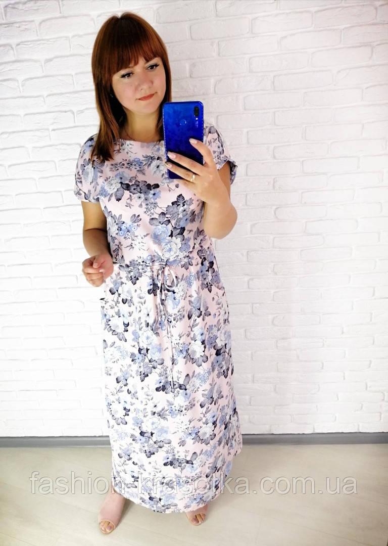 Легкое летнее длинное платье,размеры:50,52,54,56,58.
