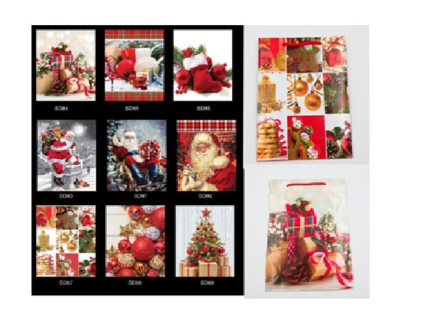 Пакеты подарочные ламинированные, 18*24*7 cm,  6-8 дизайнов (Новый год) микс .