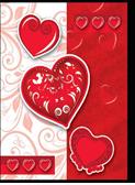 Пакеты подарочныебумажные ламинированные, 28*34*9 cm, 4 дизайна (сердца) микс.