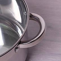 Кастрюля Kamille 3.8л из нержавеющей стали с крышкой и полыми ручками для индукции, фото 2