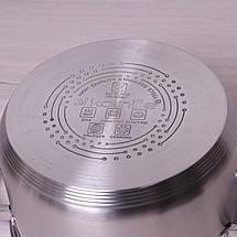 Кастрюля Kamille 3.8л из нержавеющей стали с крышкой и полыми ручками для индукции, фото 3