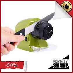 Автоматическая электрическая точилка для ножейSwifty Sharp Зеленая (заточка ножей на батарейках)
