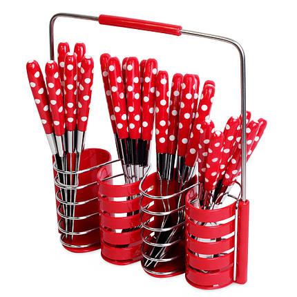 Набор столовых приборов Kamille 24 пр. из нержавеющей стали с пластиковыми ручками и подставкой, фото 2