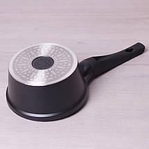 """Ковш Kamille 1.2л из литого алюминия с крышкой и антипригарным покрытием """"мрамор"""" для индукции, фото 3"""