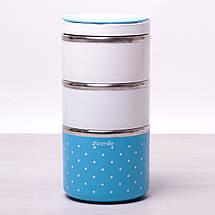 Ланч бокс на 1480мл. для обедов из пластика и нержавеющей стали, фото 2