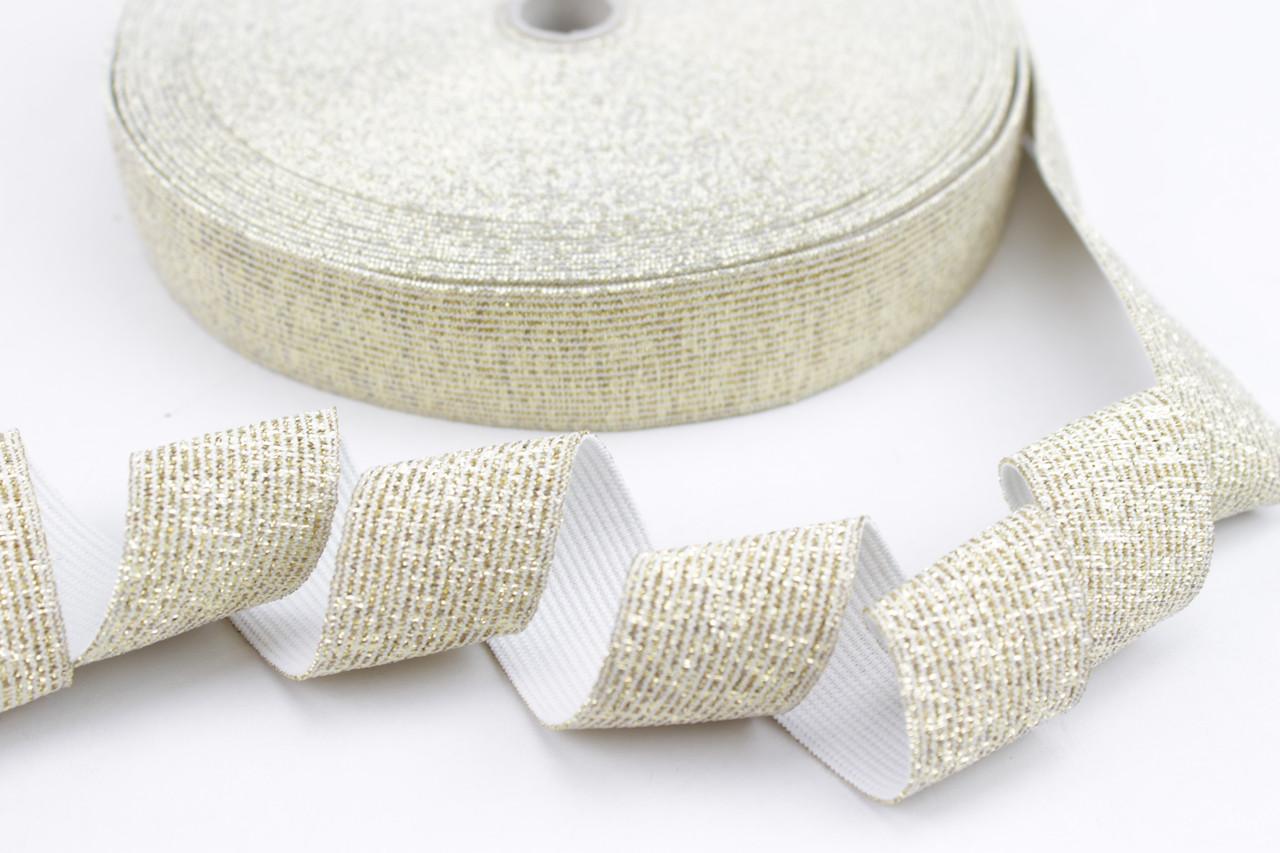 Резинка эластичная с люрексом золото 30 мм  № РЗ-032