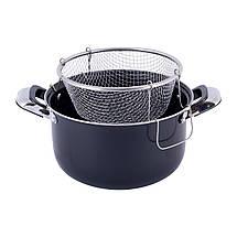 Кастрюля для фритюра 4л из углеродистой стали для приготовления картофеля фри для индукции, фото 2