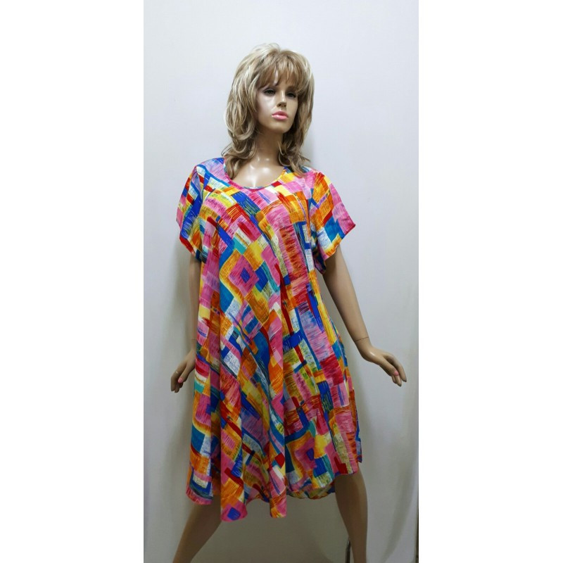 Платье штапельное с рукавом, размер 56-64
