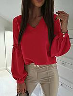 Женская блузка в цветах с рукавами расклешенными, фото 1