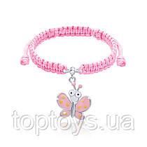 Браслет плетений UMa UMi Метелик рожевий з очима (419543000611)