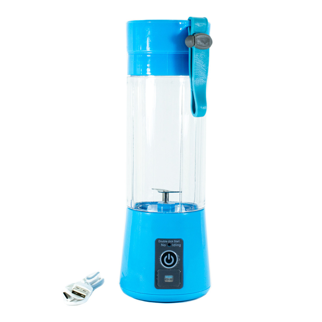 Розпродаж! Смузі блендер бездротовий Juice Cup USB портативний шейкер для смузі з пляшкою, блакитний