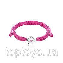 Браслет плетений UMa & UMi Квіточка з сердечком Біло Рожевий (419560800624)