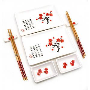 Сервиз для суши Белый с цветами сакуры (2 персоны)(28х28,3х3,5 см) ( 23680A) набор посуды сакура