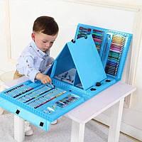 Голубой художественный набор с мольбертом для детского творчества в чемодане из 208 предметов
