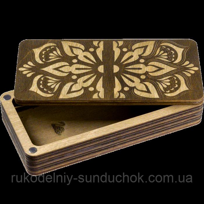 Деревянная мусорничка-шкатулка для обрезков нитей FLZB(N)-007
