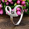 Серебряное кольцо Грация вставка красный и белые фианиты вес 2.05 г, размер 18, фото 4