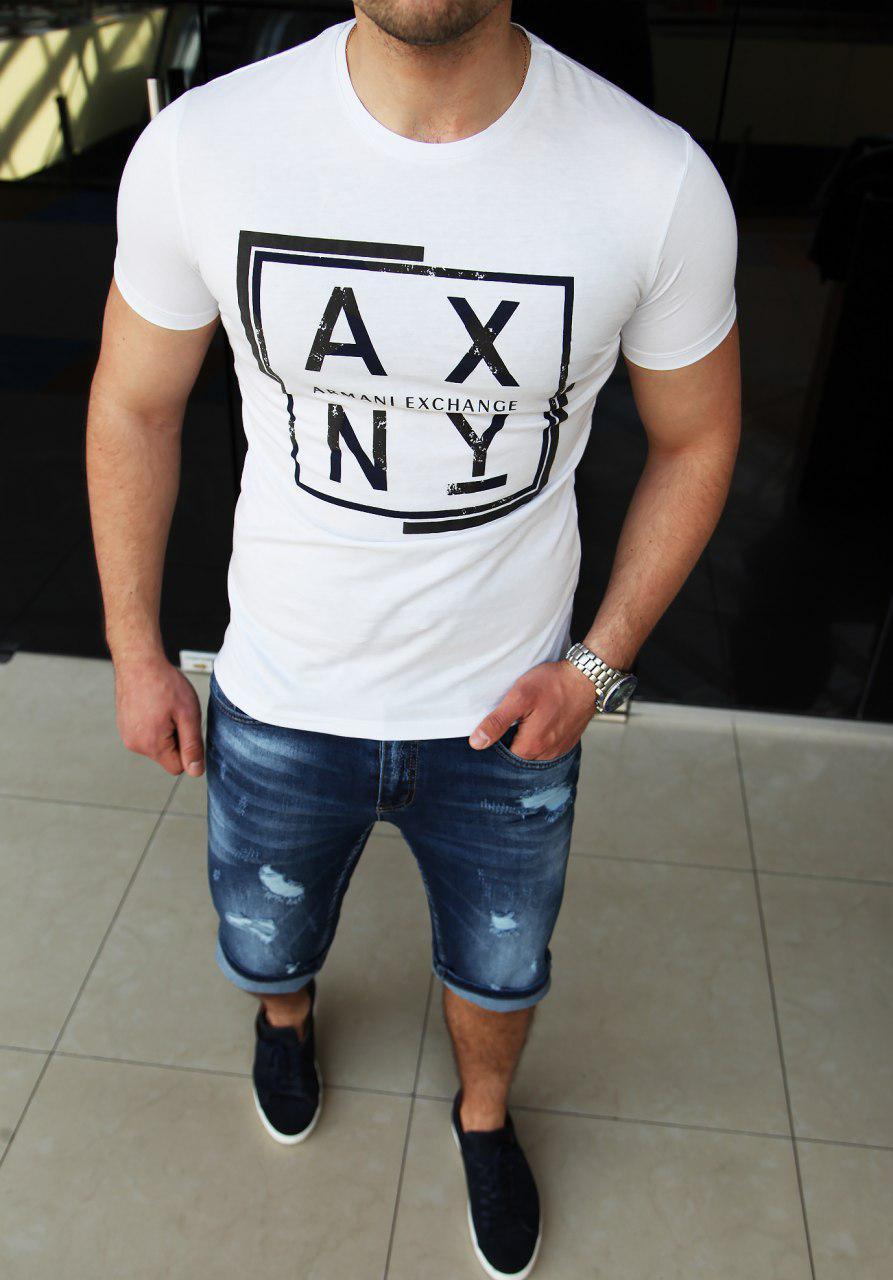 Мужская футболка Armani Exchange H0357 белая