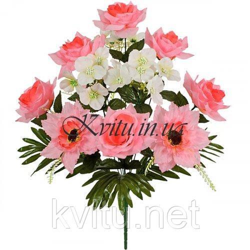 Искусственные цветы букет комбинированный роз, герани и гербер, 54см