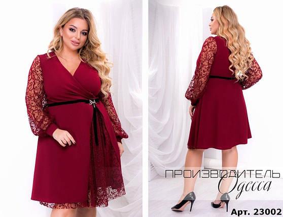 """Очаровательное женское платье с напылением бархата ткань """"Креп-Дайвинг"""" 52 размер батал, фото 2"""