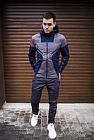 """Куртка-парка не промокаемая мужская демисезонная Soft Shell """"Аура"""" серая с синим - S, фото 1"""