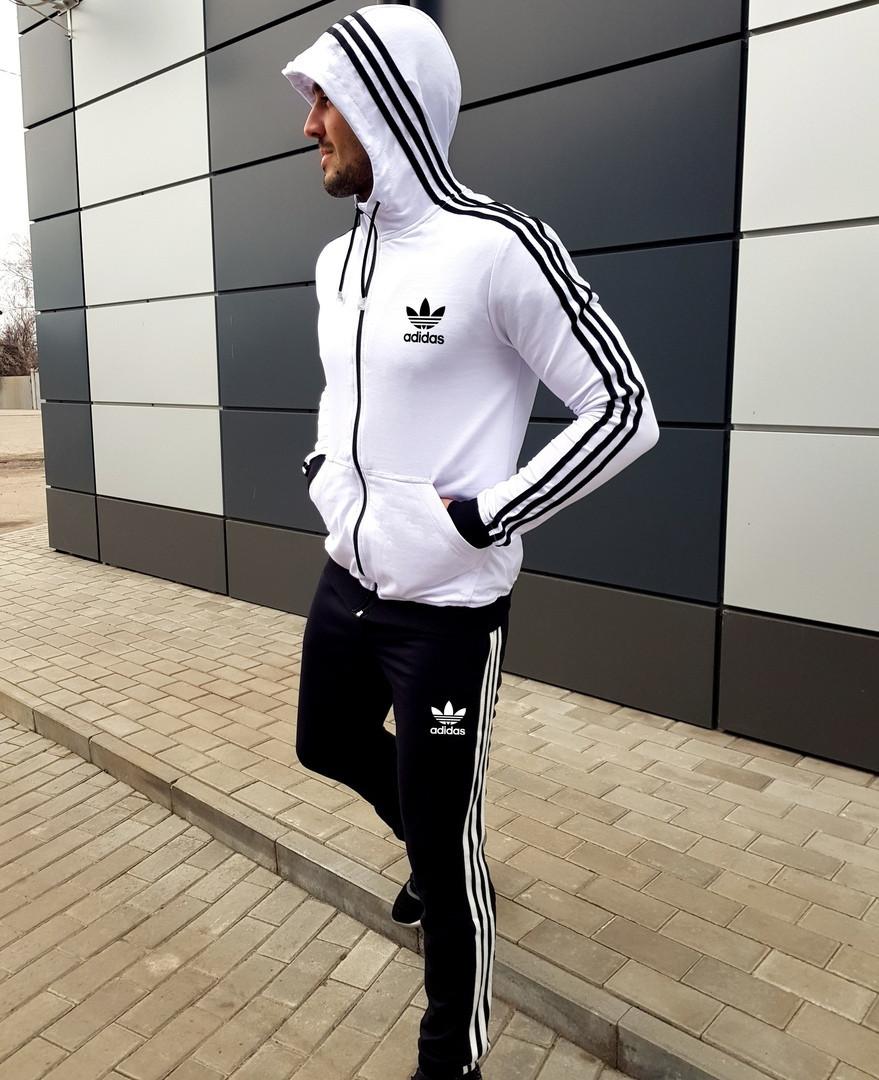 Весенне-осенний мужской спортивный костюм Adidas белый с черным (реплика)