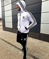 Весенне-осенний мужской спортивный костюм Adidas белый с черным (реплика), фото 1
