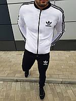 Молодіжний чоловічий спортивний костюм Adidas весна/осінь чорний з білим (репліка)