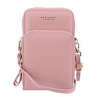Женский кошелек Baellerry N0102 Light Pink вертикальный на ремешке сумка-клатч для женщин и девушек