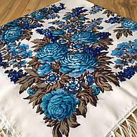 """Яркий павлопосадский платок """" Пионы"""" (120х120 см, белый, 80%-шерсть), фото 1"""