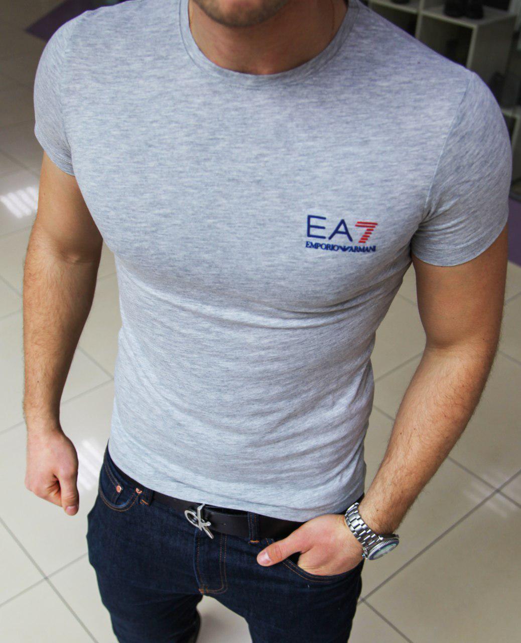 Мужская футболка Emporio Armani H0361 серая