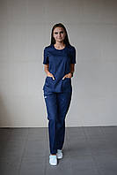 Медицинский стильный женский костюм Темно-синий