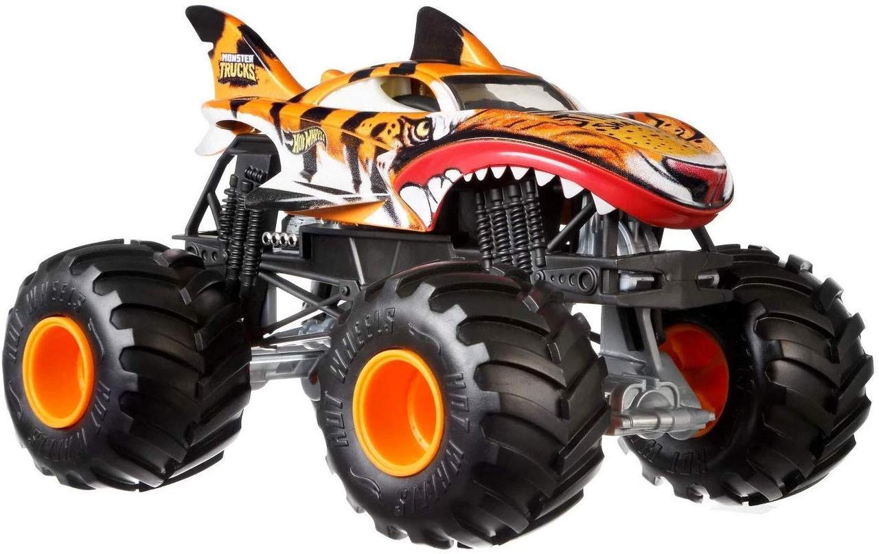 Hot Wheels Monster Jam Машинка-внедорожник тигровая акула 1:24 Scale FYJ92 Tiger Shark Monster Truck