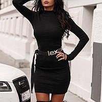 Красивое приталенное платье с рукавами-митенками