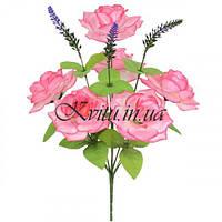 Букет атласные розы с лавандой, 42см
